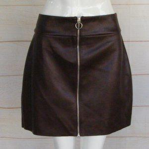 new EXPRESS Vegan Leather Skirt, 14, Oxblood, Zip